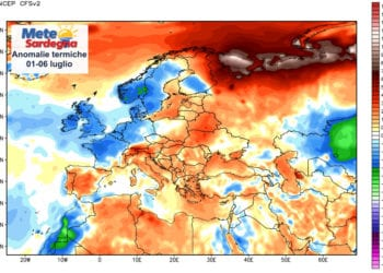 Le anomalie termiche dal 01 al 06 luglio.