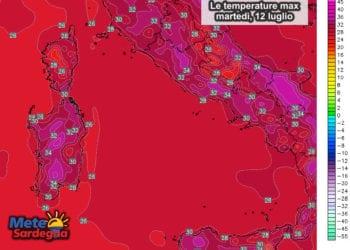 Le temperature massime previste per oggi, martedì 12 luglio.
