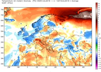 Le anomalie termiche continentali della prima metà di luglio.