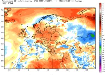 Le anomalie termiche del mese di giugno.