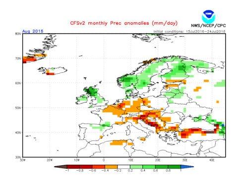 Le possibili precipitazioni di agosto 2016.