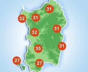 Le temperature massime previste per la giornata di domenica 10 luglio.