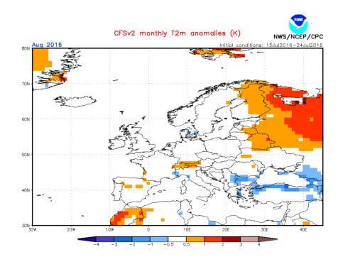 Il possibile andamento termico del mese d'agosto.