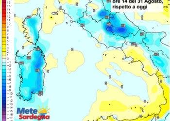 Le variazioni di temperatura delle ore 14 del 31 agosto, rispetto alla stessa ora di oggi.
