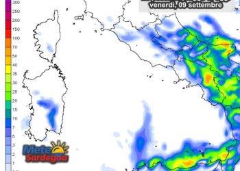 Le possibili piogge di oggi, venerdì 09 settembre.