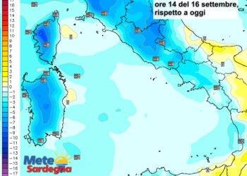 Le variazioni di temperatura delle ore 14 del 16 settembre, rispetto  ad oggi.