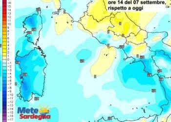 Le variazioni di temperatura delle ore 14 del 07 settembre, rispetto alla stessa ora di oggi.
