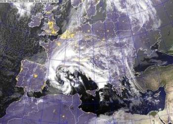 Immagine Meteosat di repertorio che mostra una forte perturbazione in arrivo verso la Sardegna.