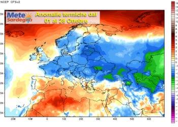 Le anomalie termiche continentali dal 01 al 28 ottobre.