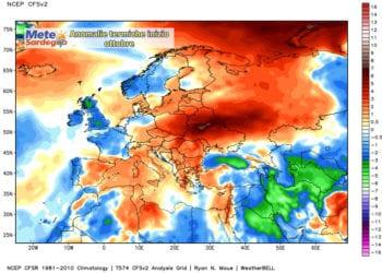 Le anomalie termiche di inizio ottobre.