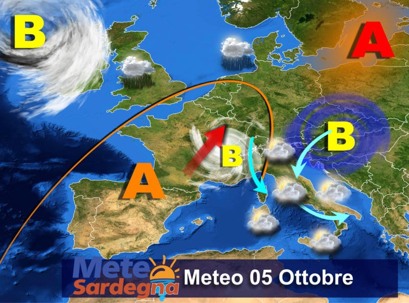 Il meteo di oggi, mercoledì 05 Ottobre.