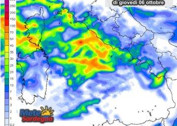 Le possibili piogge di giovedì 06 ottobre.