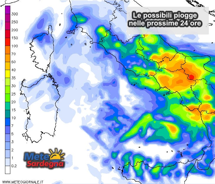 Le piogge attese dalle ore 12 di oggi alle ore 12 di domani.