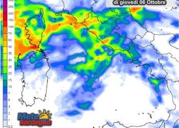Le possibili piogge di giovedì 6 ottobre.