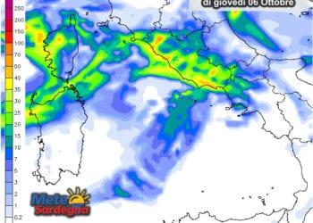 Le possibili piogge dalle ore 14 alla mezzanotte.