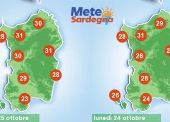 Le temperature massime di oggi e domani. Come vedete sono previste punte di oltre 30°C.