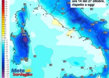 Le variazioni termiche delle ore 14 di giovedì 27 ottobre, rispetto alla stessa ora di oggi.