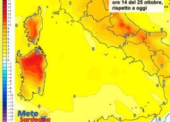 Le variazioni di temperatura delle ore 14 del 24 ottobre, rispetto alla stessa ora di oggi.