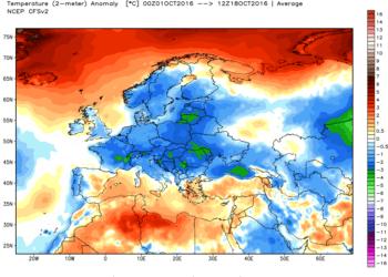 Le anomalie termiche da inizio ottobre.