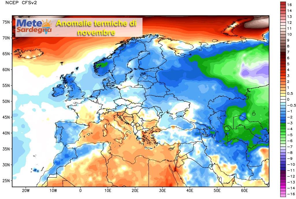 L'andamento termico del mese di novembre.
