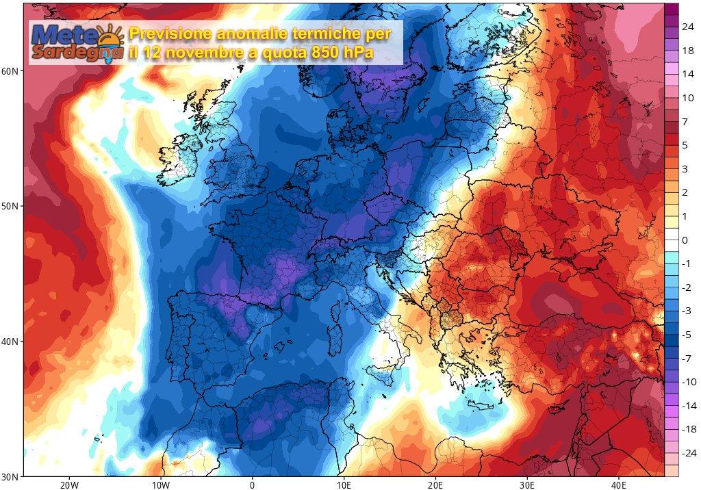 La previsione delle anomalie termiche per la giornata del 12 novembre.