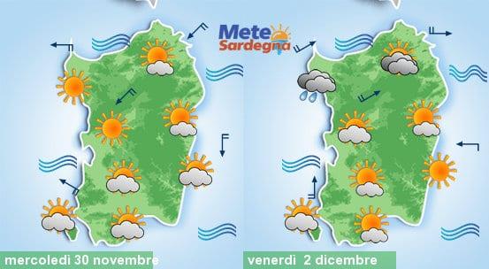 Le previsioni meteo per la giornata di mercoledì e di venerdì.