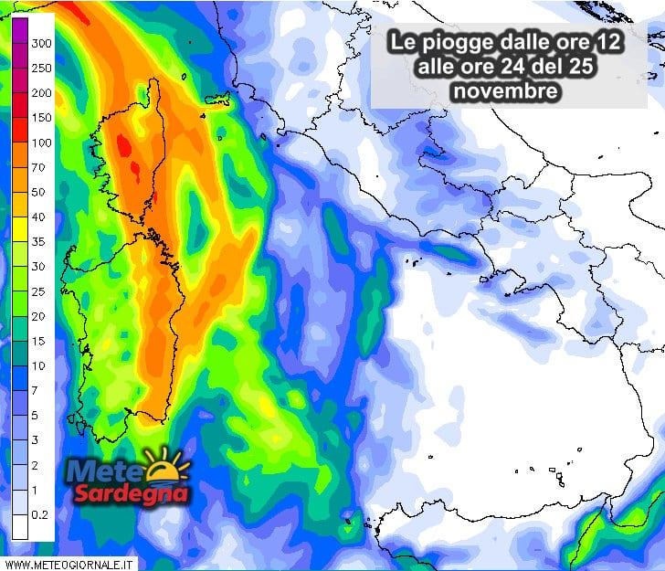 Le piogge dalle ore 09 alla mezzanotte del 25 novembre.