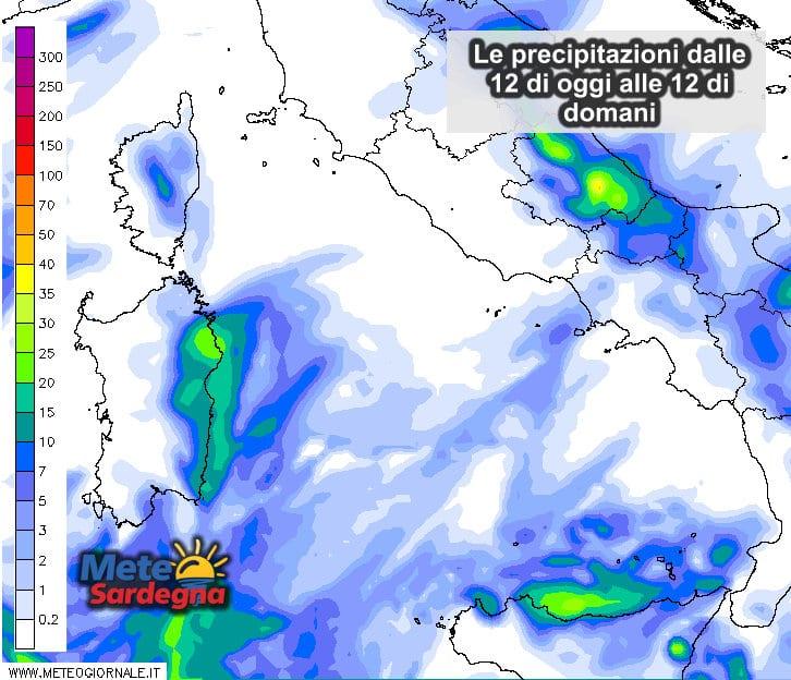 Le piogge dalle ore 12 di oggi alla stessa ora di domani.