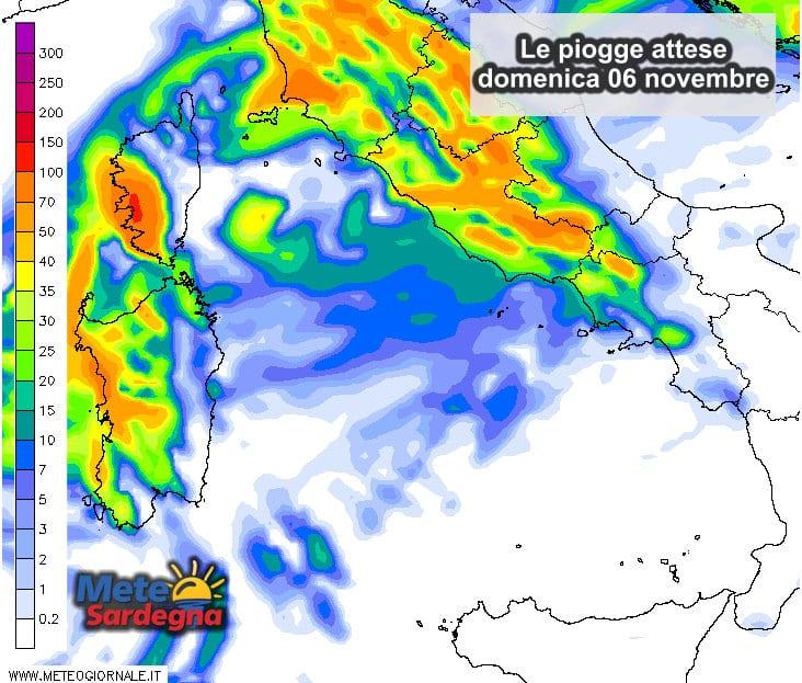 Piogge 3 - Ecco quanta piogga cadrà nella giornata di domenica