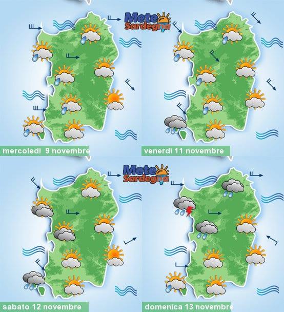 Il meteo settimanale nella nostra grafica targata Meteo Sardegna.