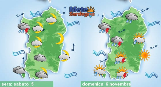 Peggioramento meteo tra stasera e domenica 06 novembre.