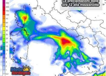Le piogge previste dalle ore 12 alla mezzanotte del 15 novembre.