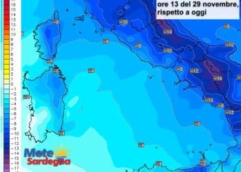 Le variazioni di temperatura delle ore 13 del 29 novembre, rispetto alla stessa ora di oggi.