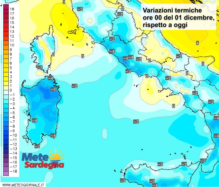 Le variazioni termiche delle ore 00 del 1° dicembre, rispetto alla stessa ora di oggi.