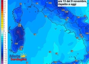 Le variazioni termiche delle ore 13 del 09 novembre, rispetto alla stessa ora di oggi.