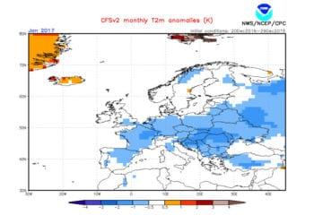 Le anomalie termiche previste per il mese di gennaio 2017.