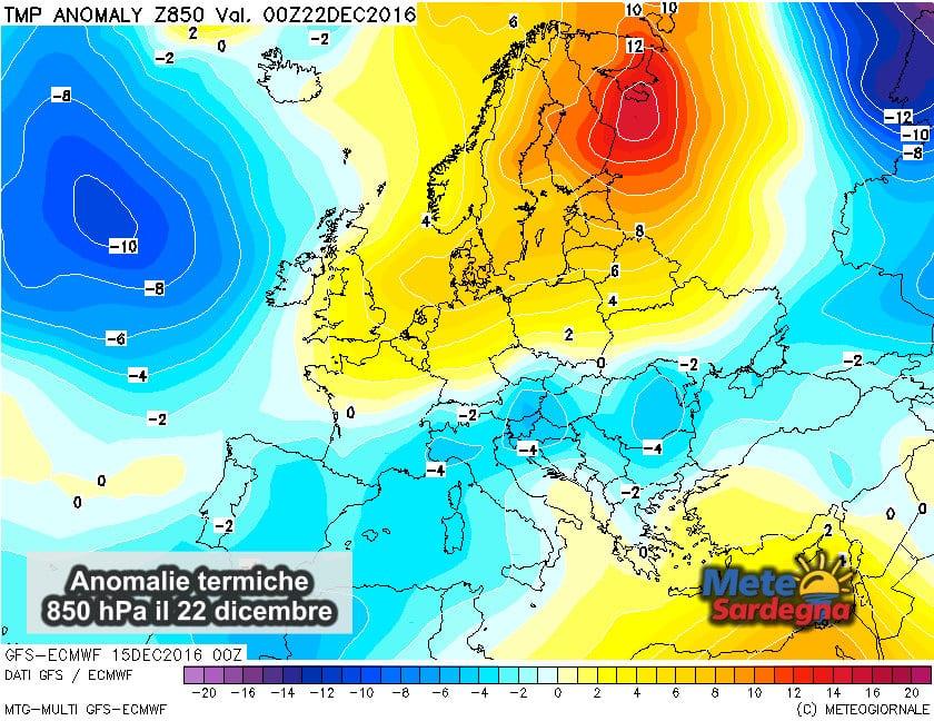 Le anomalie termiche attese nella giornata del 22 dicembre.