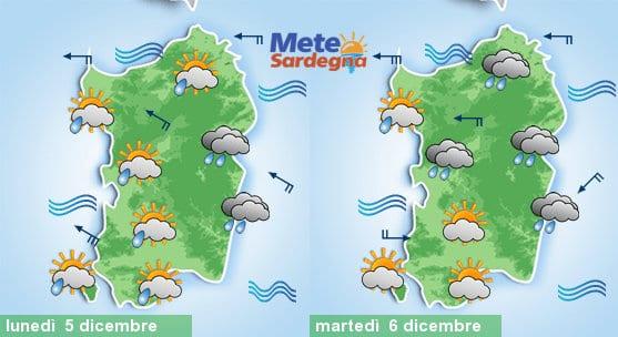 Il meteo tra oggi e martedì 06 dicembre.