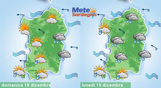 Il meteo di domenica e di lunedì 19 dicembre.