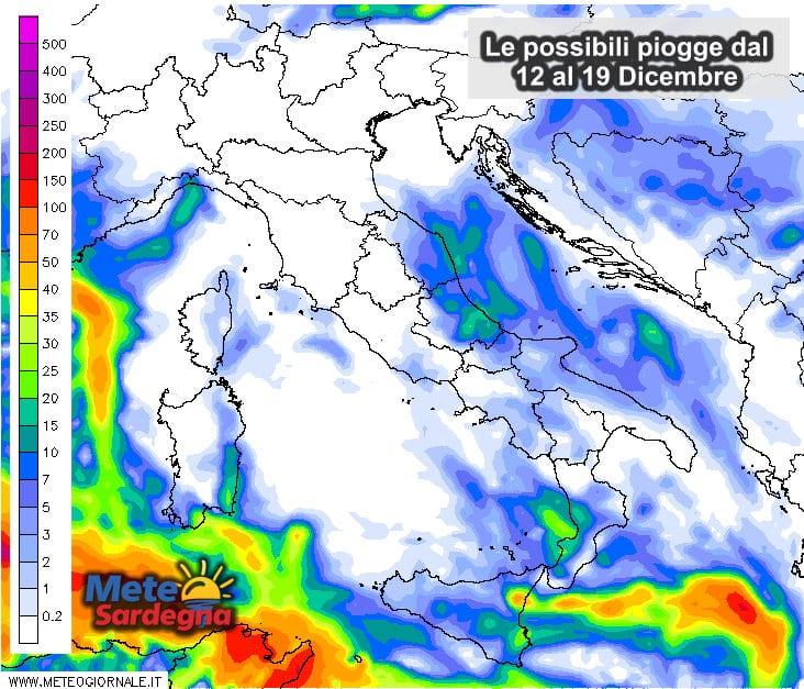 Le piogge settimanali dal 12 al 19 dicembre.
