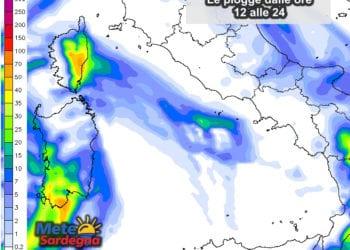 Le piogge attese dalle ore 12 alle 24 del 21 dicembre.