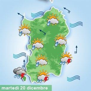 Il meteo di domani, martedì 20 dicembre.