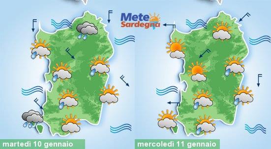Il meteo di oggi e di mercoledì 11 gennaio.