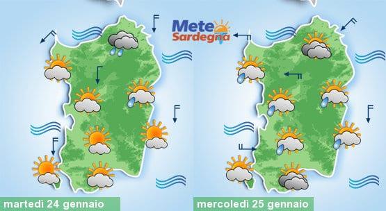Il meteo di oggi e la previsione per mercoledì 25 gennaio.