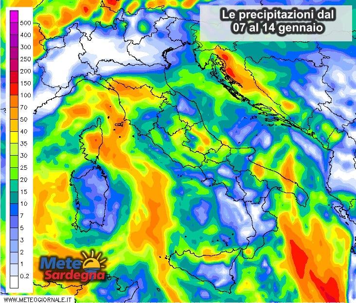 Le possibili precipitazioni dal 07 al 14 gennaio.