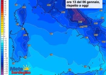 Le variazioni di temperatura delle ore 13 del 06 gennaio, rispetto alla stessa ora di oggi.