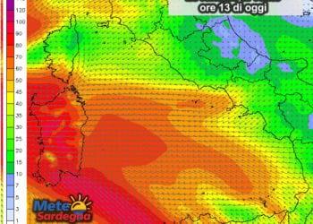 Le raffiche di vento alle ore 13: saremo sotto un'autentica bufera di Scirocco e Grecale.