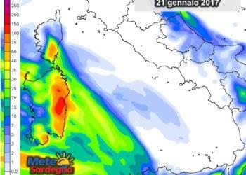 Le precipitazioni nell'arco della giornata di domani, sabato 21 gennaio.