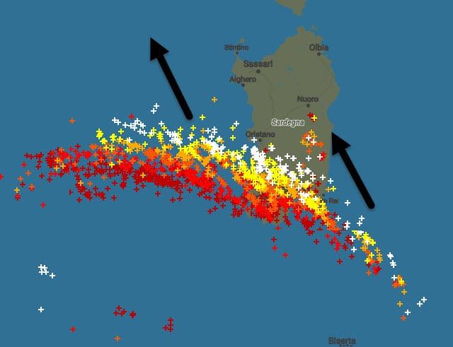 Fulmini in Sardegna ore 16:20. Fonte blitzortung.org