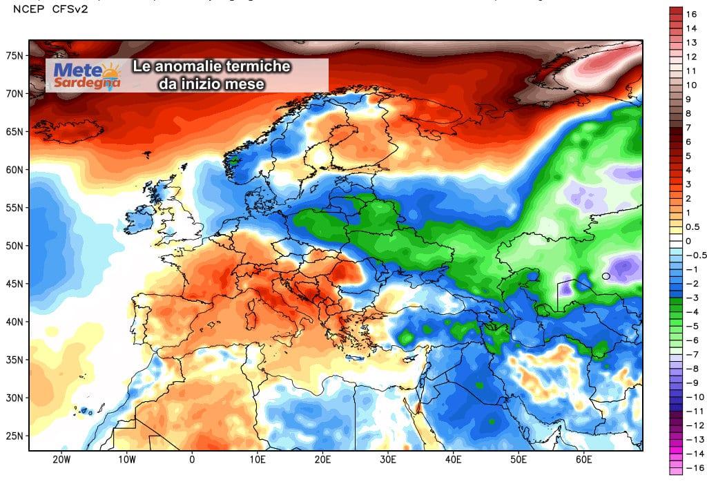Le anomalie termiche da inizio febbraio a oggi.